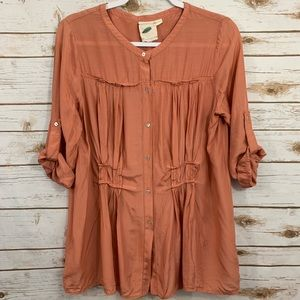 Pasture Button Down Roll Sleeve Blouse S